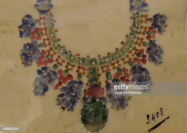 Cartier's design drawing for the tutti frutti necklace from 1938 is on view as part of the Denver Art Museum's newest exhibition 'Brilliant Cartier...
