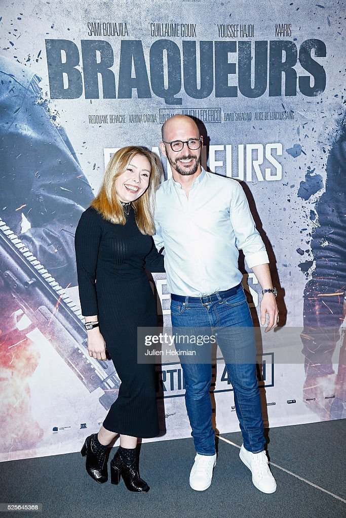 Cartman and his wife attend 'Braqueurs' Premiere at UGC Cine Cite des Halles on April 28, 2016 in Paris, France.