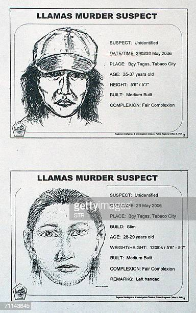 A cartographic sketch released by the Bicol regional police 07 June 2006 of the two suspects involved in the 29 May 2006 killing of leftist leader...