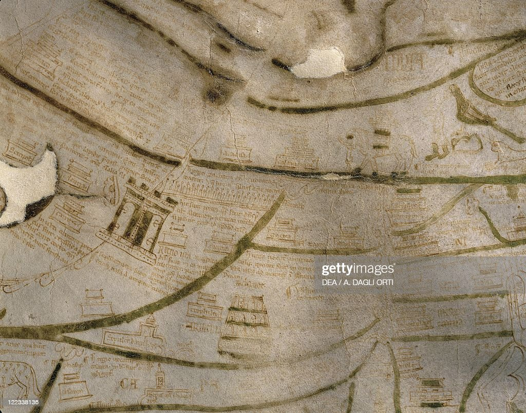 Cartography 12th13th century Mappa Mundi Medieval map of Vercelli Created in England or France 11911218 Detail Armenia and Scythia the Silk Road Ink...