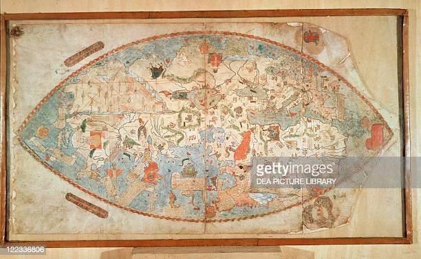 Cartography 15th century Genoese World Map 1457 Manuscript