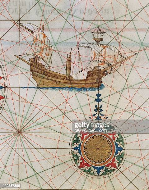 Cartography 16th century A caravel in the ocean From 'Atlas of the Universe' by Lazaro Luis 1563 Detail