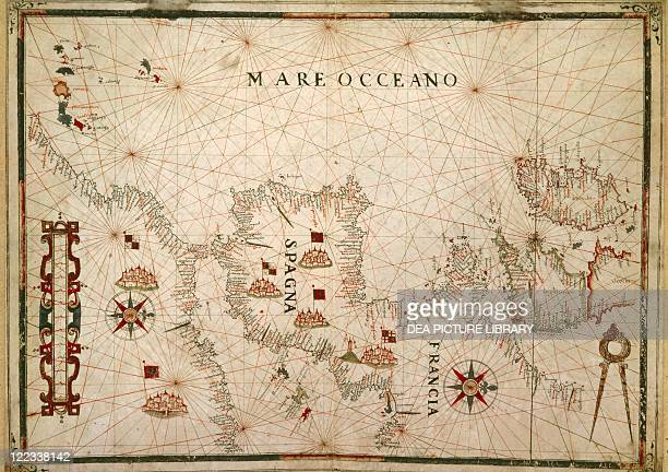 Cartography 16th century France and Spain From the Nautical Atlas by Giovanni Oliva Messina Italy 1592