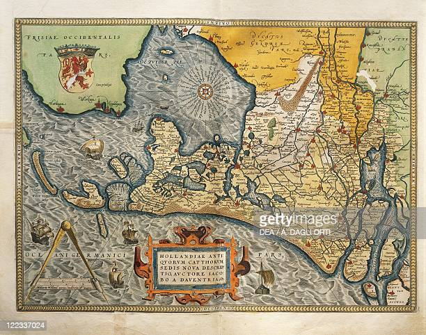 Cartography 16th century Map of Netherlands from Theatrum Orbis Terrarum by Abraham Ortelius Antwerp 1570