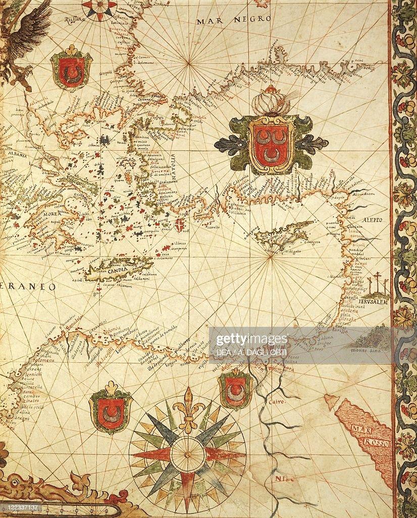 Cartography 16th century Portolan chart of the Ottoman Empire by Ioannes Superantius