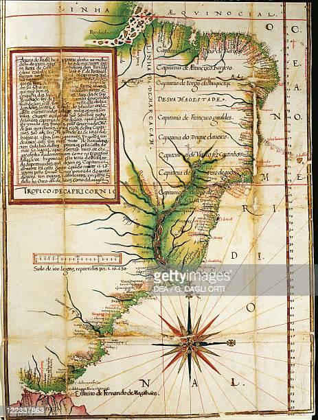 Cartography 16th century Portuguese map showing the coast of Brazil at Cape of San Augustin near the Straits of Magellan