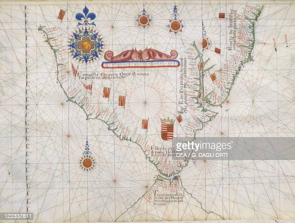 Cartography 16th century South America and the Strait of Magellan from Luis Lazaro's world atlas 1563