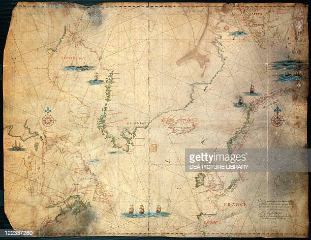 Cartography 17th century Nautical chart of the limits of the North Sea created by Hessel Gerritsz