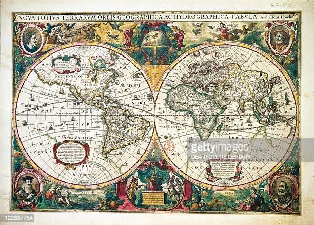 Cartography 17th century Nova totius Terrarum Orbis Geographica ac hydrographica tabula by Henricus Hondius Amsterdam 1630 Illustrated copperplate 38...