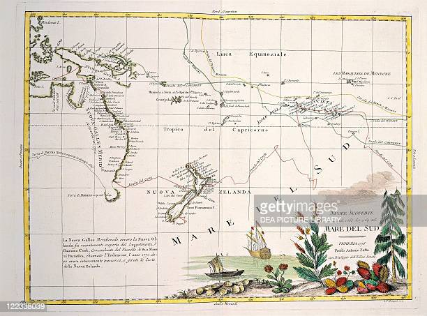 Cartography 18th century Map of the South Seas by Antonio Zatta according to the discoveries of James Cook Venice 1776