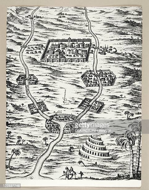 Cartography Asia 17th century Map featuring Mesopotamia and the Tower of Babel Engraving