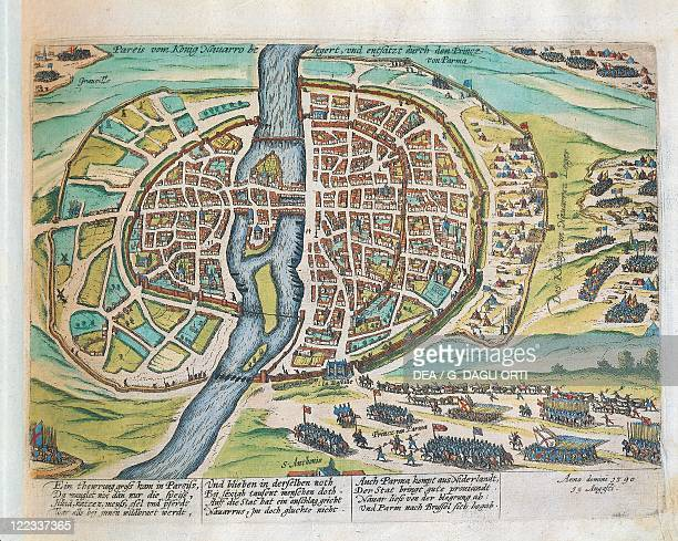 Cartography France 16th century King Henry of Navarre besieging Paris August 1590 Engraving by Franz Hogenberg