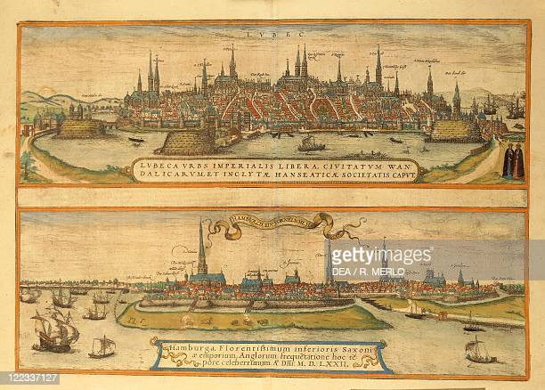Cartography Germany 16th century Map of Lubeck and Hamburg From Civitates Orbis Terrarum by Georg Braun and Franz Hogenberg Cologne Engraving