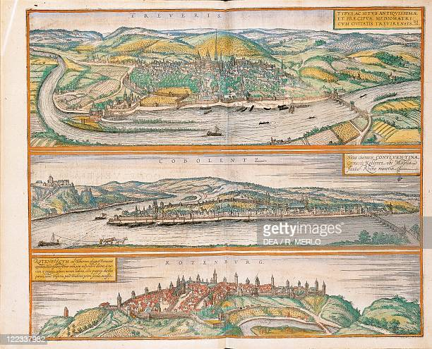 Cartography Germany 16th century Map of Trier Koblenz and Rothenburg ob der Tauber From Civitates Orbis Terrarum by Georg Braun and Franz Hogenberg...
