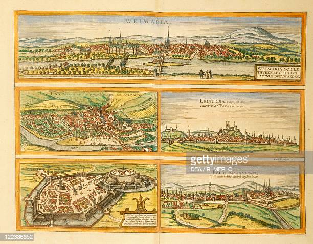 Cartography Germany 16th century Map of Weimar Jena Erfurt Gotha and Fulda From Civitates Orbis Terrarum by Georg Braun and Franz Hogenberg Cologne...