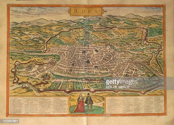 Cartography Italy 16th century Map of Rome From Civitates Orbis Terrarum by Georg Braun and Franz Hogenberg Cologne Engraving