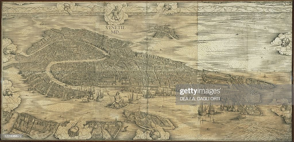 Map Of Venice In By Jacopo De Barbari Pictures Getty Images - Map of venice 1500