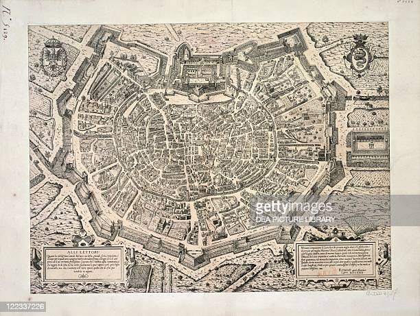 Cartography Italy 16th century The Great City of Milan created by Antonio Lafrery 1573 Copperplate 498 x 55 cm