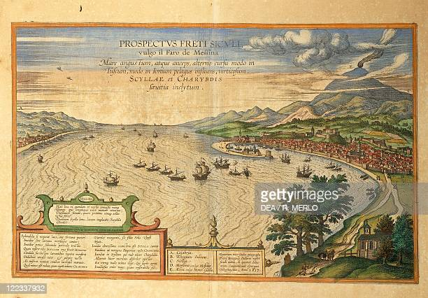 Cartography Italy 16th century The Strait of Messina From Civitates Orbis Terrarum by Georg Braun and Franz Hogenberg Cologne Engraving