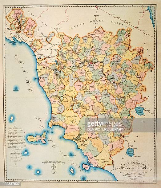 Cartography Italy 19thcentury Geometric maps of the grand duchy of Tuscany divided into districts created by Gaspero Manetti Florence 1834 50 x 435 cm