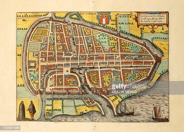 Cartography Netherlands 16th century Map of Rotterdam From Civitates Orbis Terrarum by Georg Braun and Franz Hogenberg Cologne Engraving