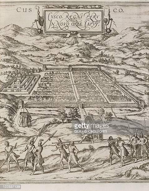 Cartography Peru 16th century Cuzco From Civitates Orbis Terrarum by Georg Braun and Franz Hogenberg Cologne Engraving