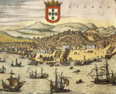Cartography Portugal 16th century Map of the City of Lisbon from Civitates Orbis Terrarum by Georg Braun and Franz Hogenberg Cologne Engraving