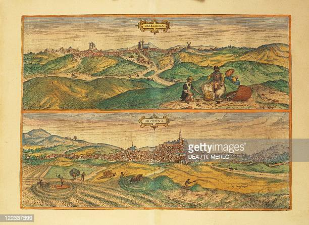 Cartography Spain 16th century Map of Marchena and Osuna From Civitates Orbis Terrarum by Georg Braun and Franz Hogenberg Cologne Engraving