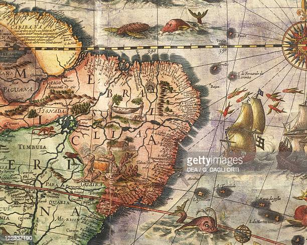 Cartography17th century Map of America created by Joan Blaeu 1686 Details Brazil and the Amazon