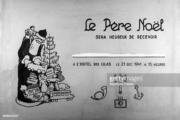 Carton d'invitation pour l'arbre de Noël des enfants des photographes d'agences photos à Vichy France le 21 décembre 1941