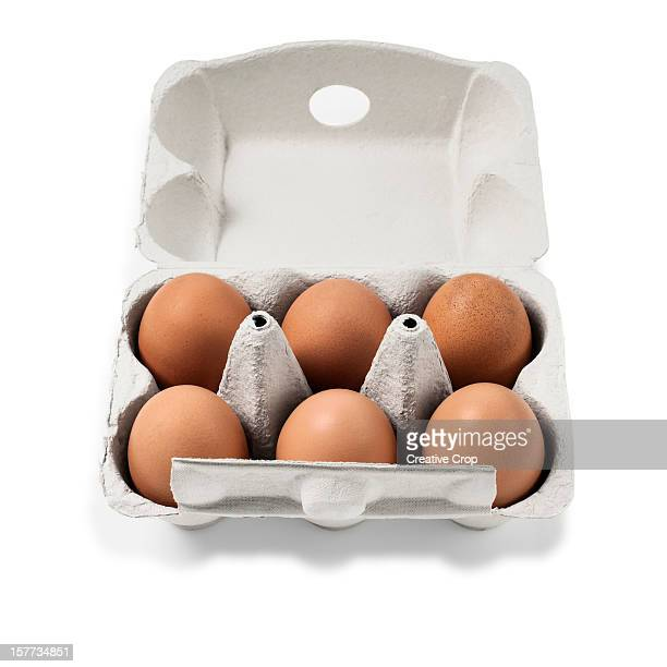 Carton of six chicken eggs