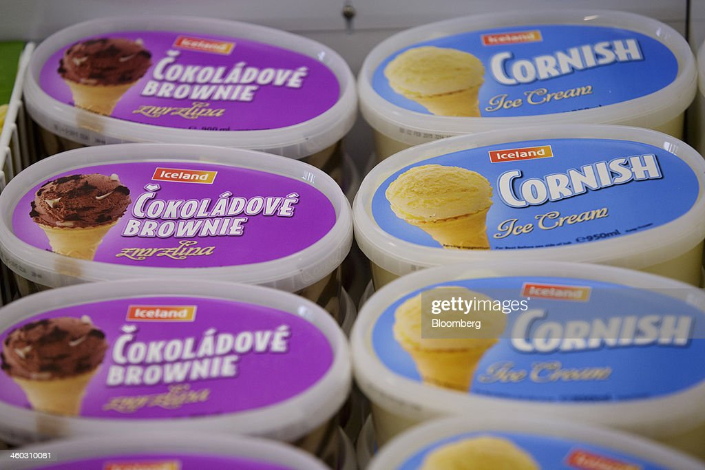 Cartons of chocolate brownie and Cornish ice cream sit for sale in a freezer inside an Iceland Foods Ltd. store in Prague, Czech Republic, on Friday, Jan. 3. 2014. The Czech Republic's 2013 budget deficit of 80.9 billion koruna ($4.01 billion) beat the 100 billion-koruna target after the government cut spending, the Finance Ministry said. Photographer: Martin Divisek/Bloomberg via Getty Images