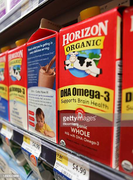 Cartons of Horizon DHA Omega3 fortified milk are displayed for sale at a supermarket in Washington DC US on Thursday July 26 2012 The scientist at...