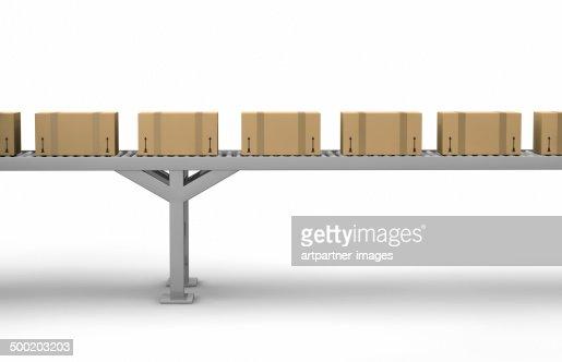 Cartons on a conveyor belt on white