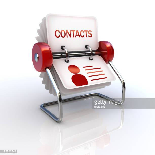 A cartoon address book on a white background
