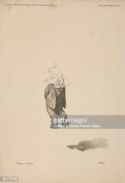 Cartoon by Low of Albert Einstein theoretical physicist who made fundamental contributions to physics His Special Relativity Theory posits that time...