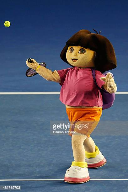 Cartoon character Dora the Explorer take part in the Kids Tennis Day ahead of the 2014 Australian Open at Melbourne Park on January 11 2014 in...