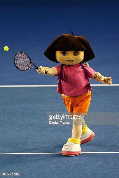 Cartoon character Dora the Explorer takes part in Kids Tennis Day ahead of the 2014 Australian Open at Melbourne Park on January 11 2014 in Melbourne...