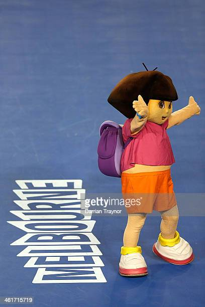Cartoon character Dora the Explorer waves to the crowd at the Kids Tennis Day ahead of the 2014 Australian Open at Melbourne Park on January 11 2014...