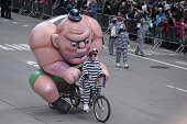 Cartoon character on a bicycle attends the 88th Annual Thanksgiving Day Parade outside Macy's Department Store in Herald Square on November 27 2014...