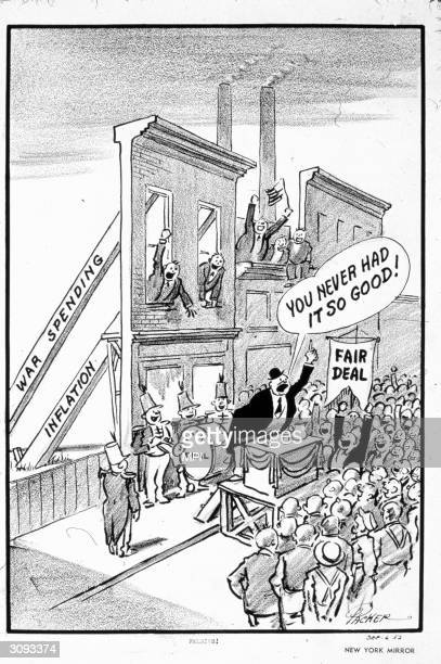 A cartoon criticizing President Truman's Fair Deal program which was an attempt to move beyond the New Deal established by his predecessor President...