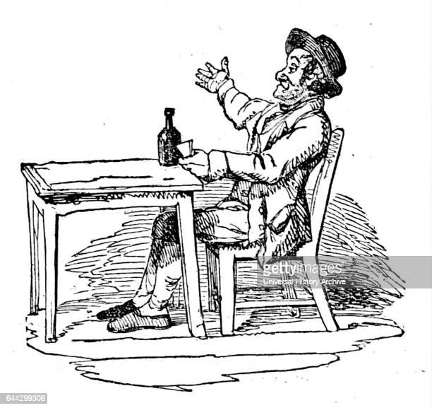 Cartoon depicting a man sat at a table drinking gin alone Dated 19th Century