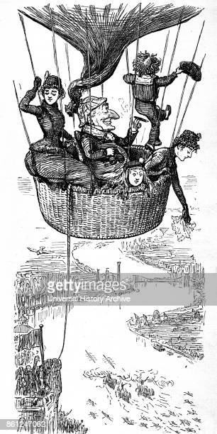 Cartoon depicting the character 'Mr Punch' flying above London in a hotair balloon Dated 19th Century