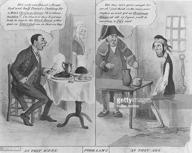 A cartoon depicting the effect of the 1834 Poor Law amendment which meant people were only entitled to claim if they lived in a work house engraving...