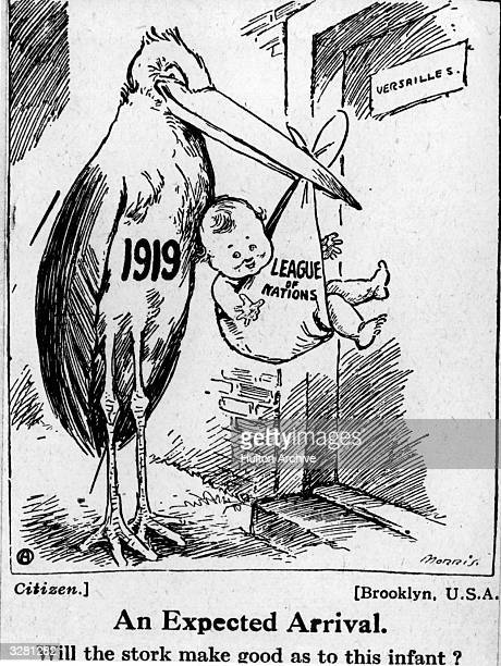 A cartoon depicting the formation of the League of Nations after the First World War The caption reads 'Will the stork make good as to this infant'