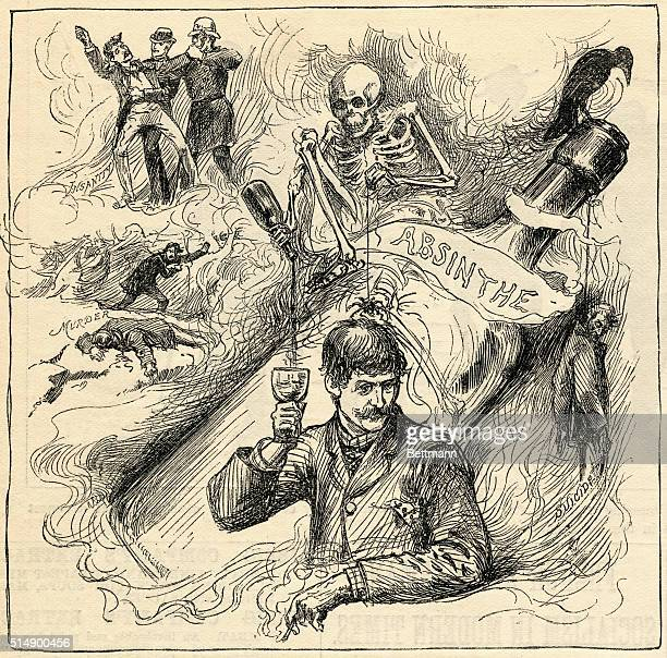 A cartoon depicts insanity murder and suicide as dangers associated with drinking absinthe