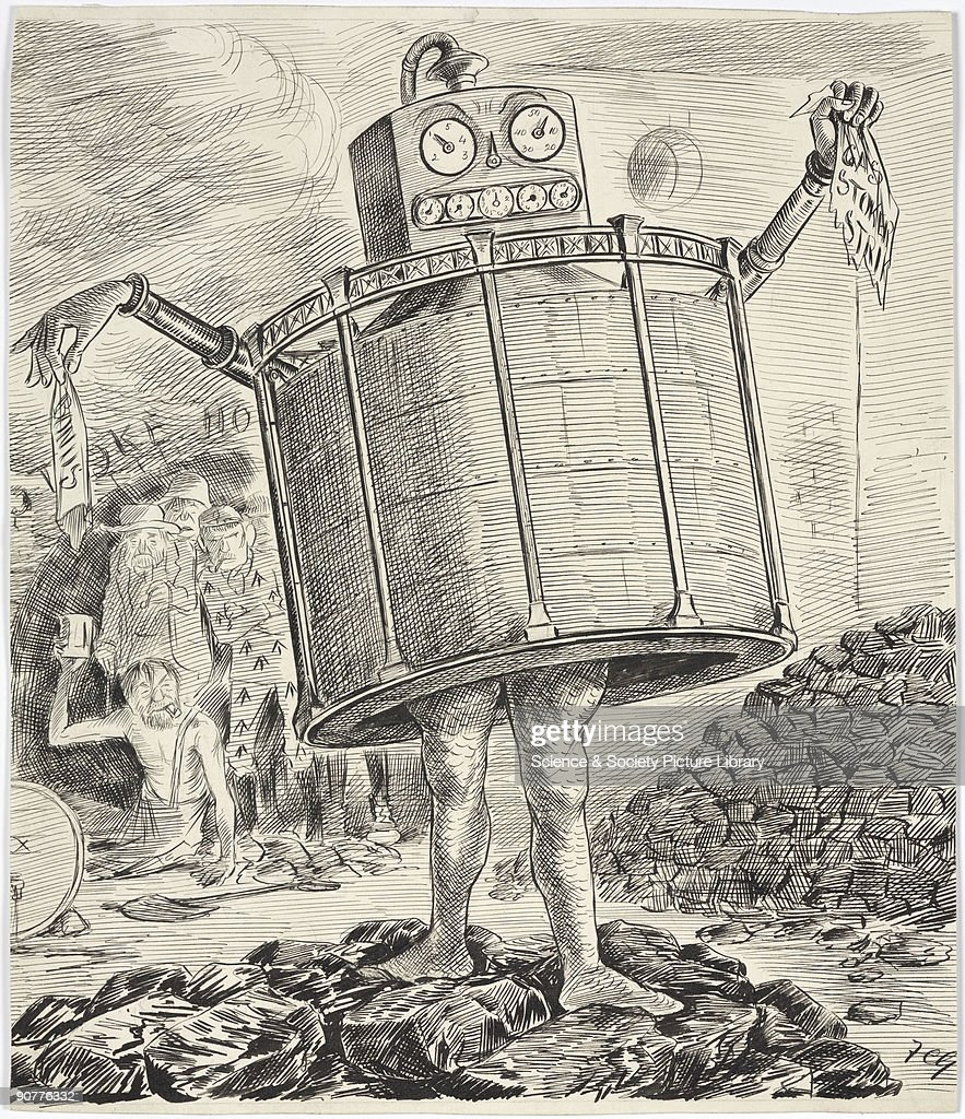 Cartoon drawing in pen and ink by F Carruthers Gould depicting a monster with a gasometer for a body and a gas meter for a head. The monster strides over heaps of coal holding in his left hand a rag saying �Gas stokers strike', and in his right hand a rag saying �bonus�. There was unrest throughout the late 19th century as gas stokers across Britain protested against long working hours and low wages. In 1889 Will Thorne formed a union to fight the Gas Light & Coke Company�s 12 and 18 hour shift demands and succeeded in replacing them with 8 hour shifts. In 1890 the police intervened when a strike by gas stokers in Leeds resulted in violent scenes.