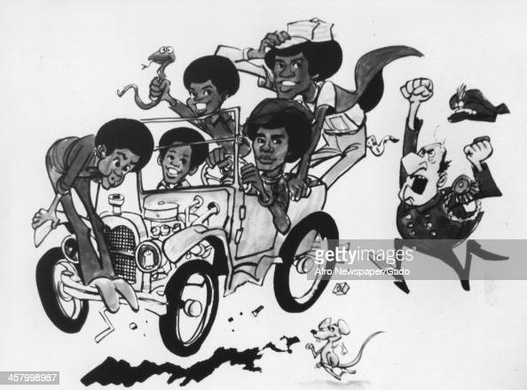 Cartoon drawing of the Jacksons and two mice groupies 1979