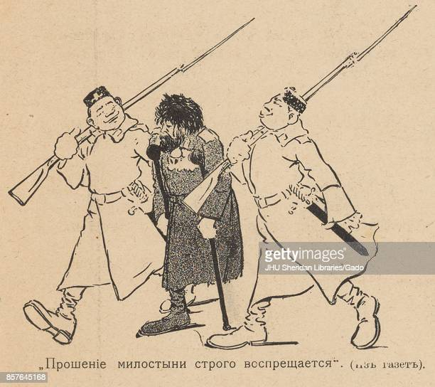 Cartoon from the Russian satirical journal Bomby depicting a disheveled man with one leg using a walking cane and being escorted by two proudlooking...