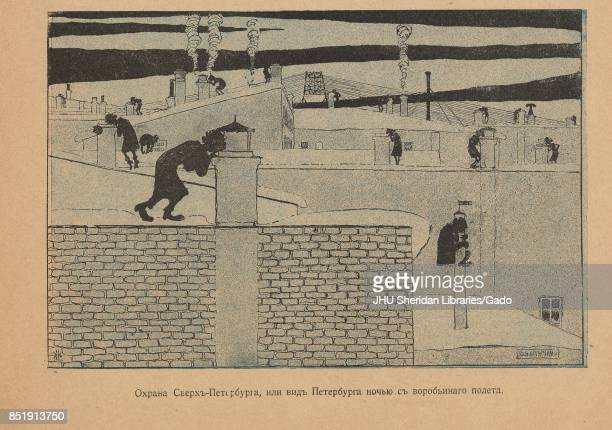 Cartoon from the Russian satirical journal Maski depicting people likely government agents on rooftops looking into chimneys with text reading...